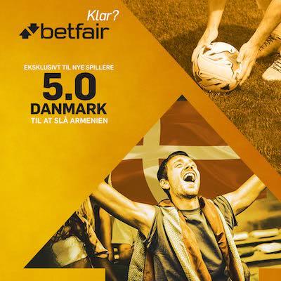 Betfair giver alle nye kunder et vildt odds boost paa Danmark mod Armenien i VM kvalifikationen 2016