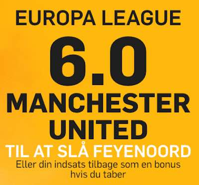 betfair giver odds 6,00 paa sejr til Manchester united over Feyenoord i Europa League 2016