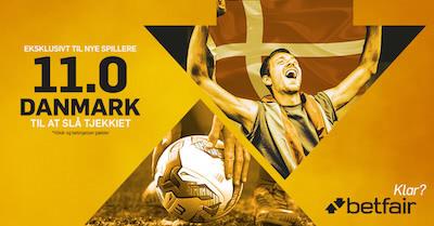 betfair giver odds 11,00 hvis danmark vinder i fodbold over tjekkiet