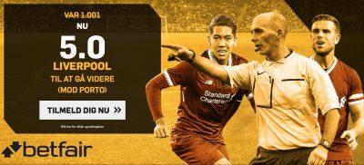 Odds bonus hos betfair. Spil Liverpool vs. Porto
