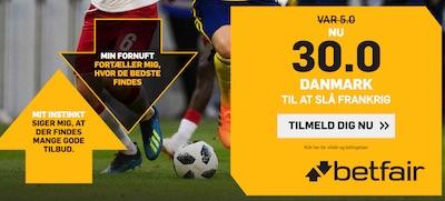 Betfair odds boost Danmark vs Frankrig