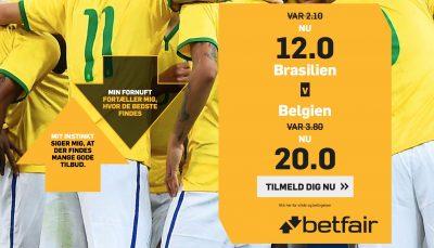 VM odds bonus betfair.dk Brasilien vs. Belgien