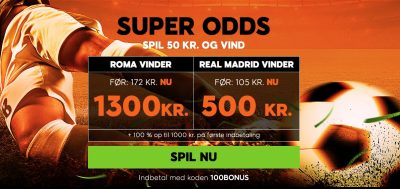 Super odds fra 888sport Roma vs. Real