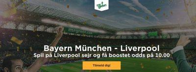 Bonus odds Mr. Green Liverpool vs Bayern