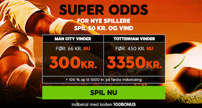 Forhøjede odds 888sports man city tottenham