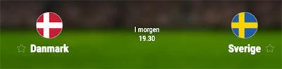 Danmark - Sverige odds