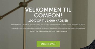 Comeon velkomstbonus op til 1000 kr