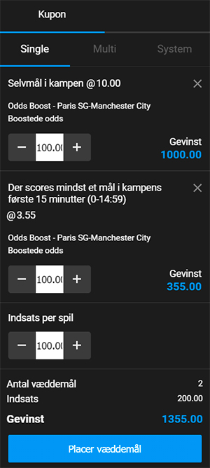 PSG - Manchester City odds boost